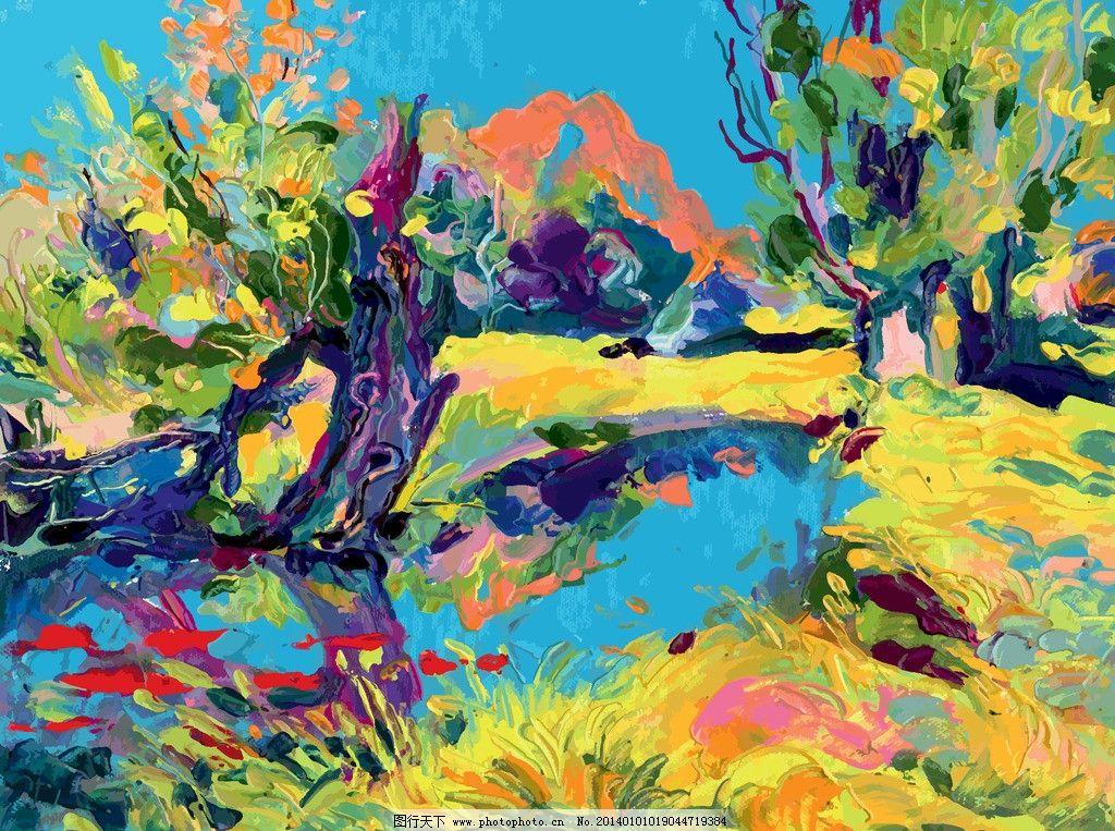 油画 绘画 装饰画 壁画 欧式风景 艺术品 美术绘画 矢量