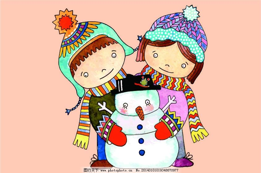 浪漫插画 小孩 男孩 女孩 可爱的小孩 雪人 帽子 围巾 手套