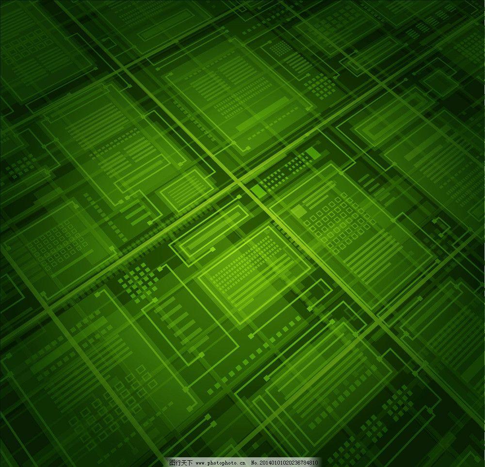 科技背景 动感线条 光线 抽象背景 电路板 绿色 方块 科技画册封面
