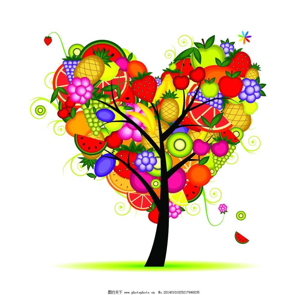 树叶和水果简笔画