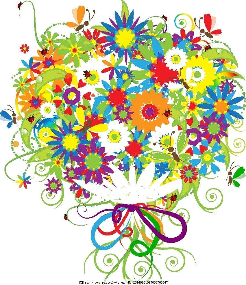 手绘花卉 卡通背景 花纹花卉 矢量花纹 矢量花纹边框 手绘花朵