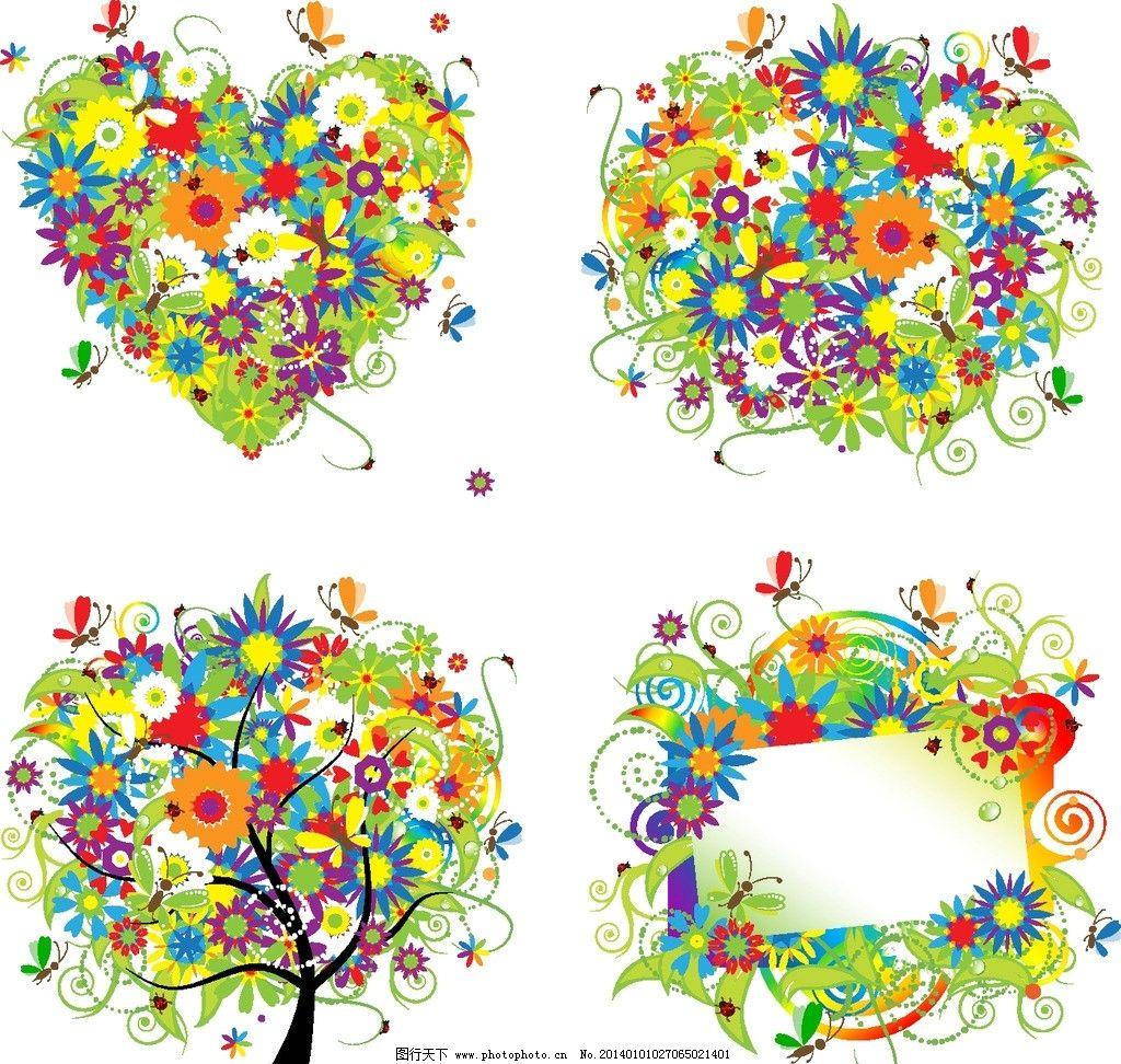 手绘花卉 卡通背景 绿叶 树木 蝴蝶 植物 花纹花卉 矢量花纹