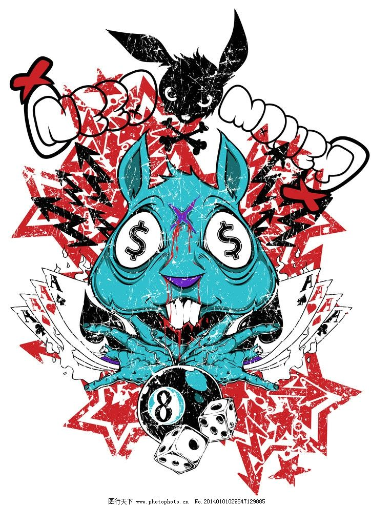 t恤印刷设计 t恤 博彩 赌博 兔子 图案 复古 怀旧 徽章 背景 底纹