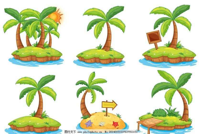 卡通椰子树 椰子树 小岛 孤岛 荒岛 卡通动物 卡通人物 广告单页 传单