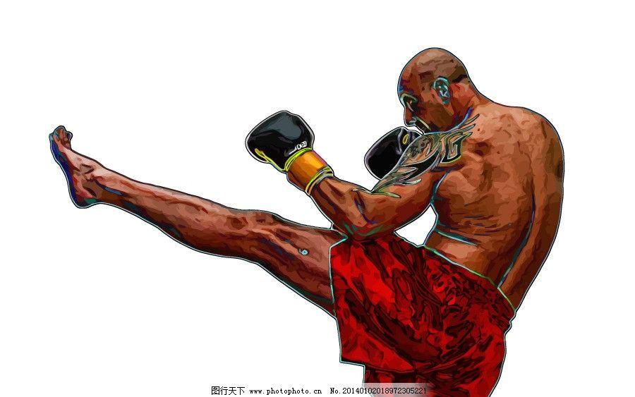 拳击运动员 手绘 搏击
