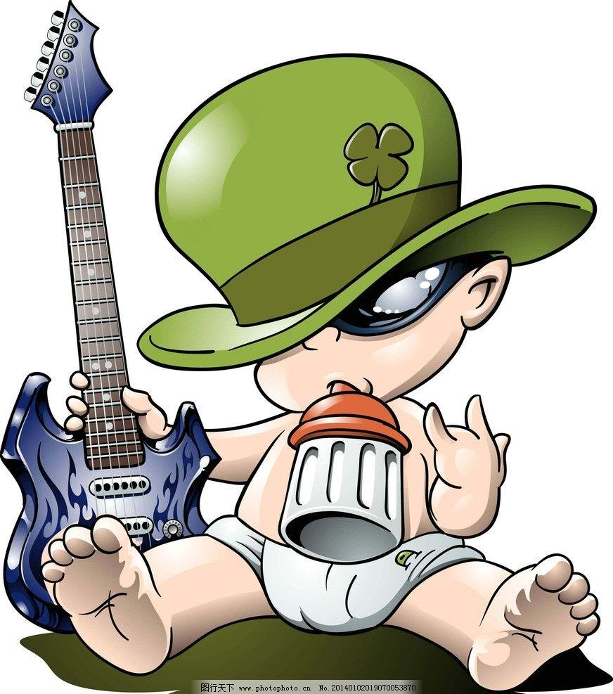 卡通手绘人物 吉它手 可爱 手绘图 可爱的卡通人物 可爱的卡通图