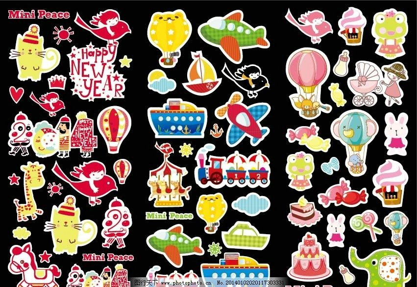 泡泡贴 外国卡通 动物 卡通动物 可爱动物 轮船 飞机 气球 儿童 大象