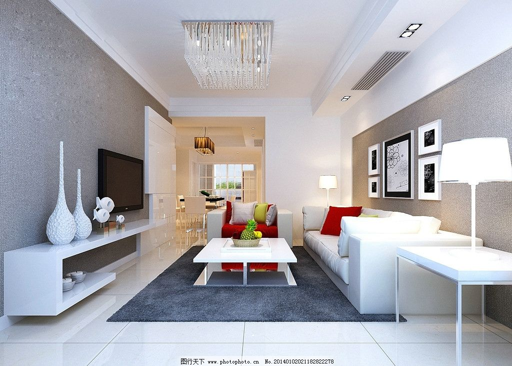 白色简约客厅效果图图片