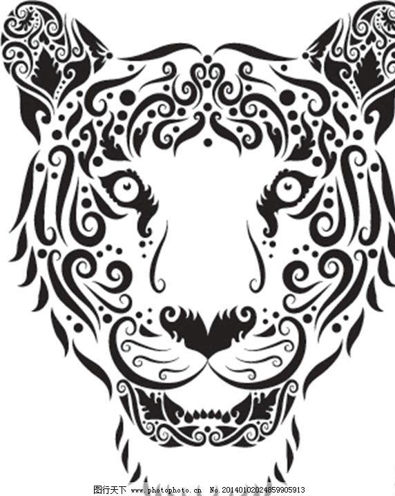 花纹动物昆虫 老虎 虎头 花纹设计 花纹昆虫 矢量背景 背景设计
