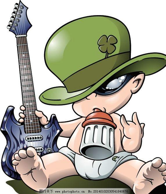 卡通设计 弹吉他 电吉他 动画 漫画 卡通人物 儿童卡通 矢量背景