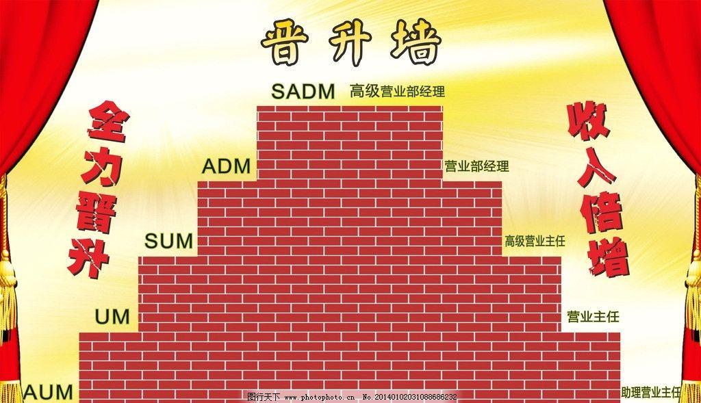保险公司晋升墙 升职 职位 海报 背胶 红黄楼梯 其他设计 广告设计