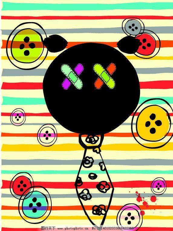 卡通画 创可贴 纽扣 扣子 领带 彩色条纹 花朵 卡通插画 儿童插画