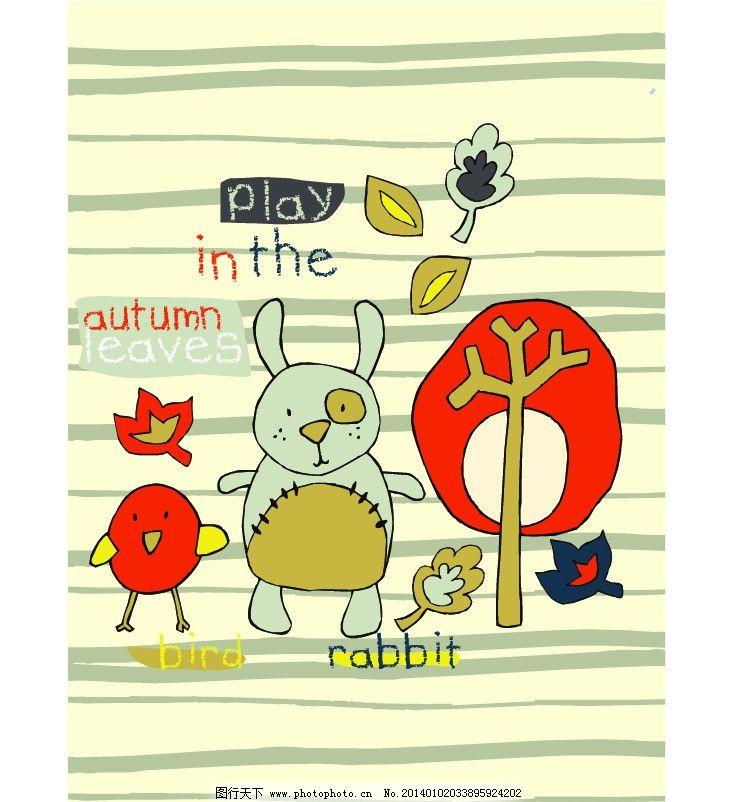 卡通画 树 树木 树叶 兔子 涂鸦 小鸡 古典背景 古典底纹 古典花纹