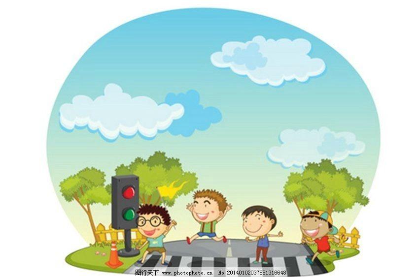 儿童卡通 学校 上学 过马路 小孩 孩子 卡通背景 动画 动漫