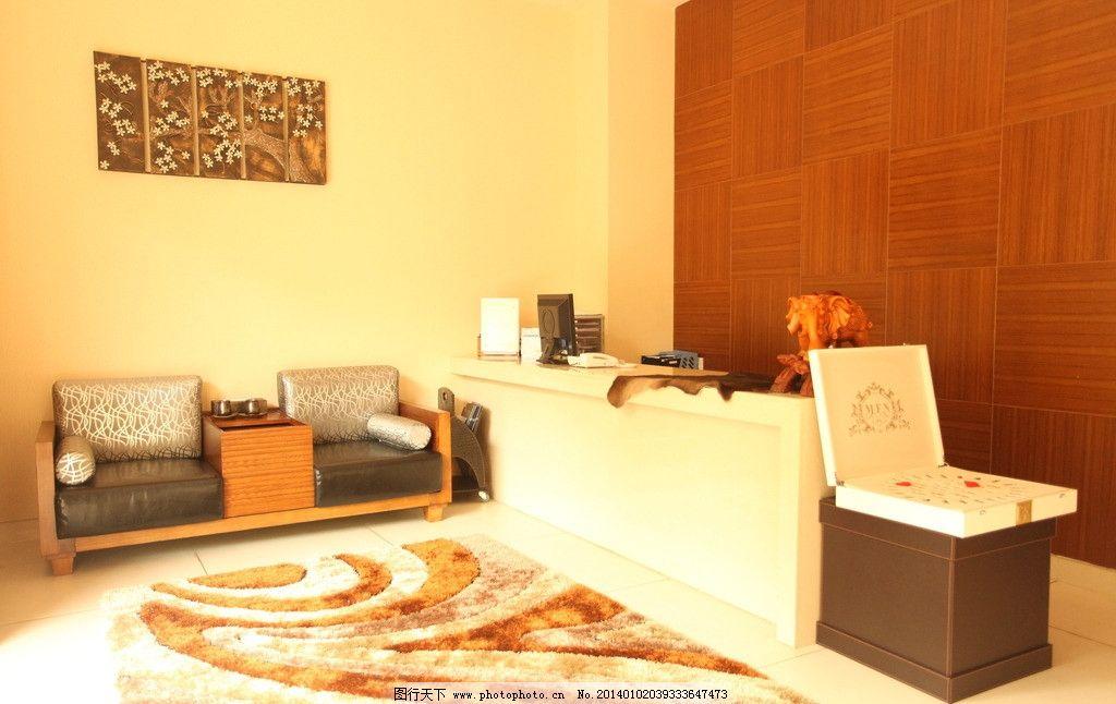 美容院前台 美容院 红木墙 墙纸 地毯 沙发 装修效果图 室内摄影 建筑