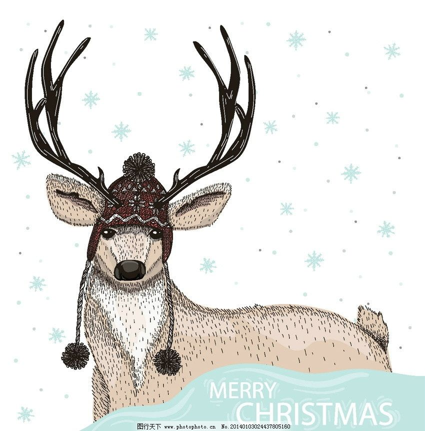 梅花鹿 圣诞 雪花 卡通 可爱 背景 矢量