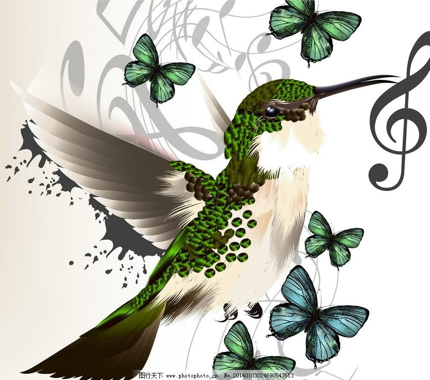 小鸟蝴蝶 小鸟 蝴蝶 音符 五线谱 可爱 时尚 梦幻 背景 设计 鸟类