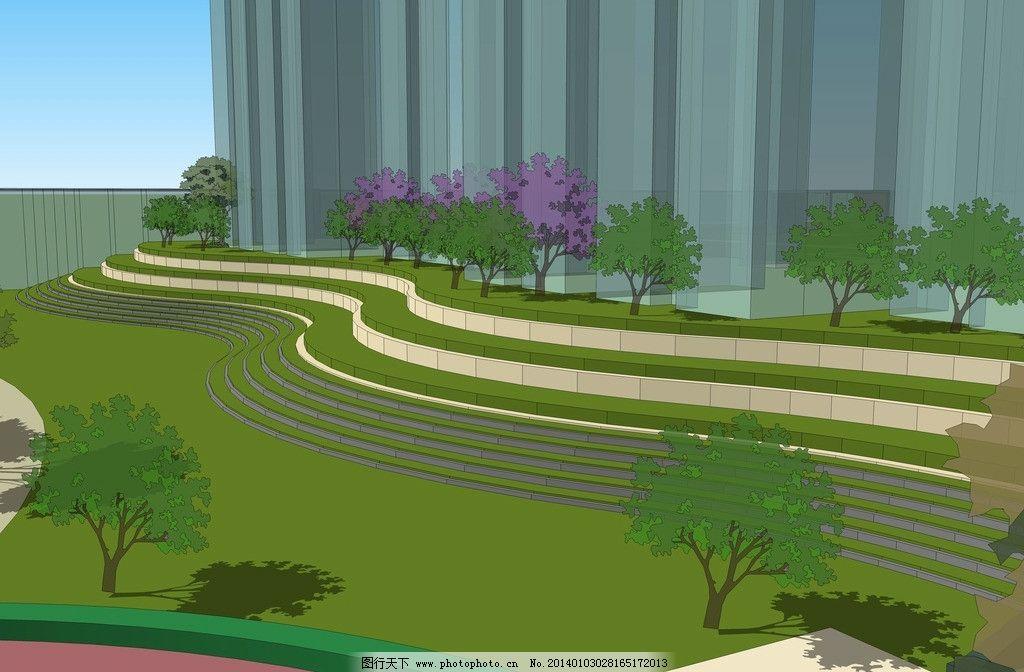 小区景观效果图 景观效果图 居住区 小区效果 环境设计 sketchup 景观