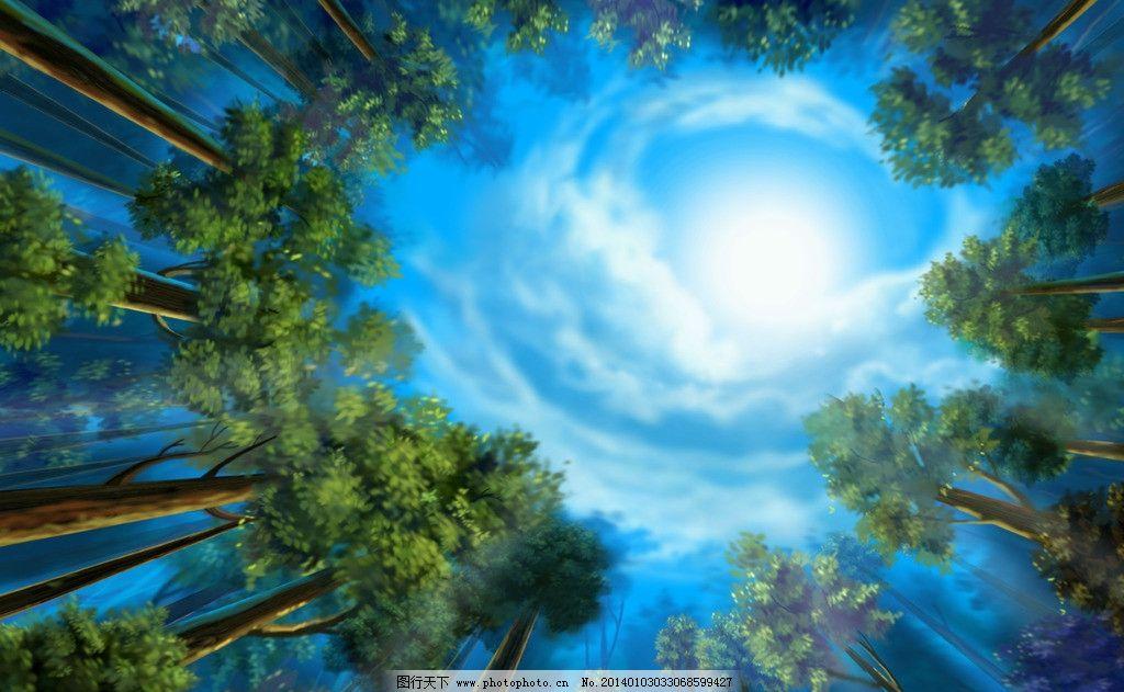 天空树林 壁画 墙纸 天空 树林 蓝天 白云 太阳 阳光 树木 朦胧