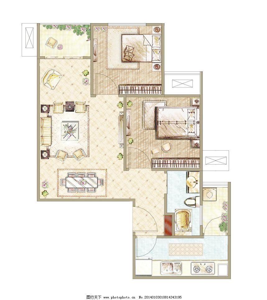 平面图 彩平图 室内设计 建筑效果图 环境设计 300dpi 家居装饰素材