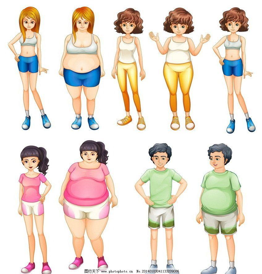 减肥美女帅哥 减肥 瘦身 美女 女人 女孩 帅哥 手绘 卡通 可爱 矢量图片