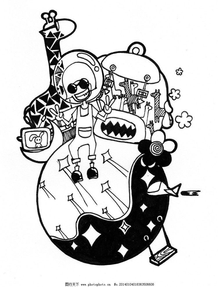 幼儿黑白线描画风景_绘画分享