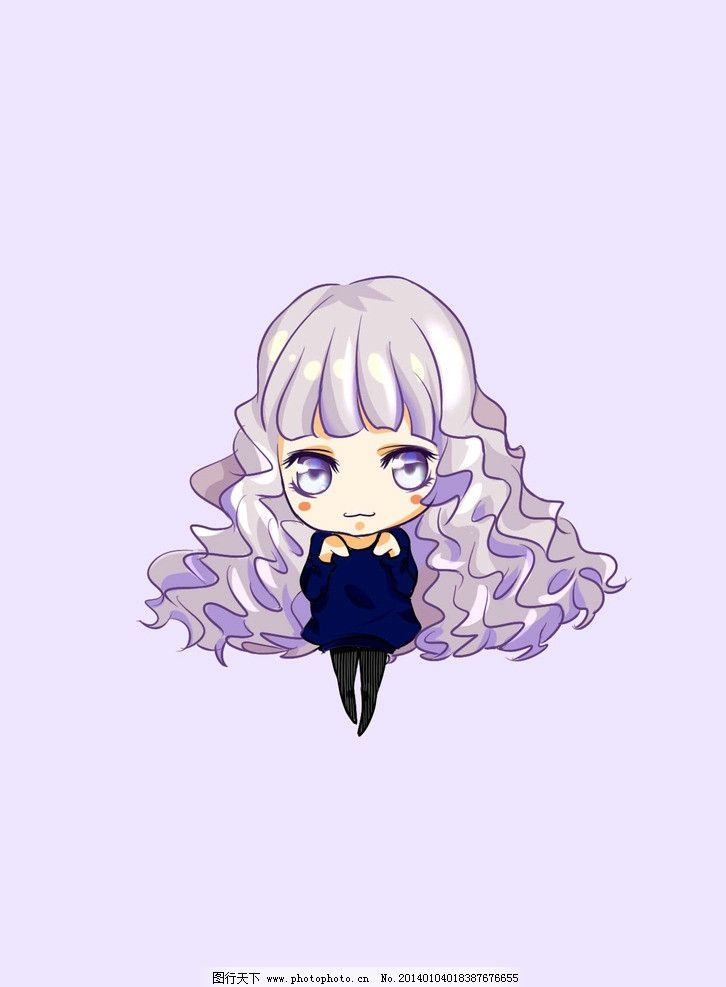 猫咪少女      漫画 人物 角色 可爱 插画 q版 猫咪 紫色 动漫人物