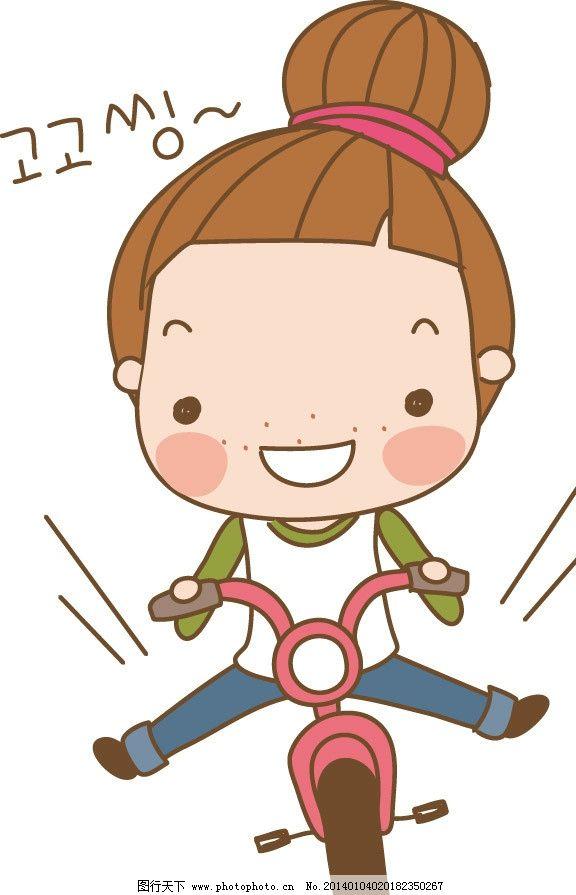 骑车 骑自行车 女孩 卡通 儿童 儿童印花 图案 图形设计 创意插画