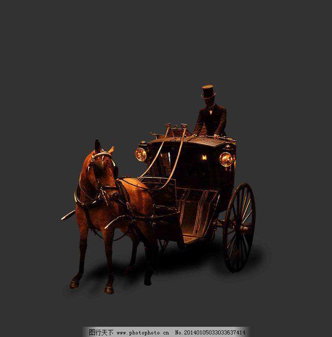 木雕手艺马车与马夫图片素材