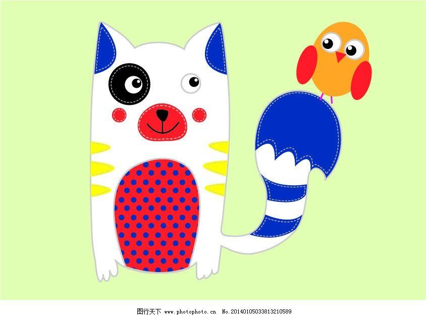 卡通动物 小猫 可爱的猫 小鸟 卡通画 卡通插画 动物矢量 时尚插画