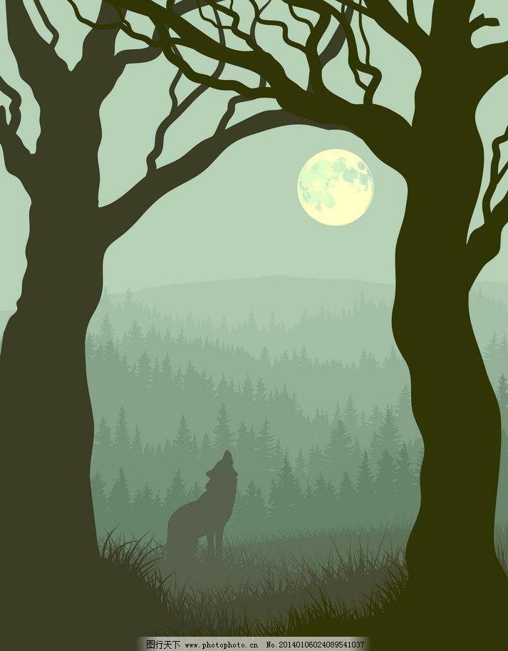深夜树林狼嚎 狼 圆月 狼嚎 狼叫 群山 山脉 树林 森林 丛林 树木