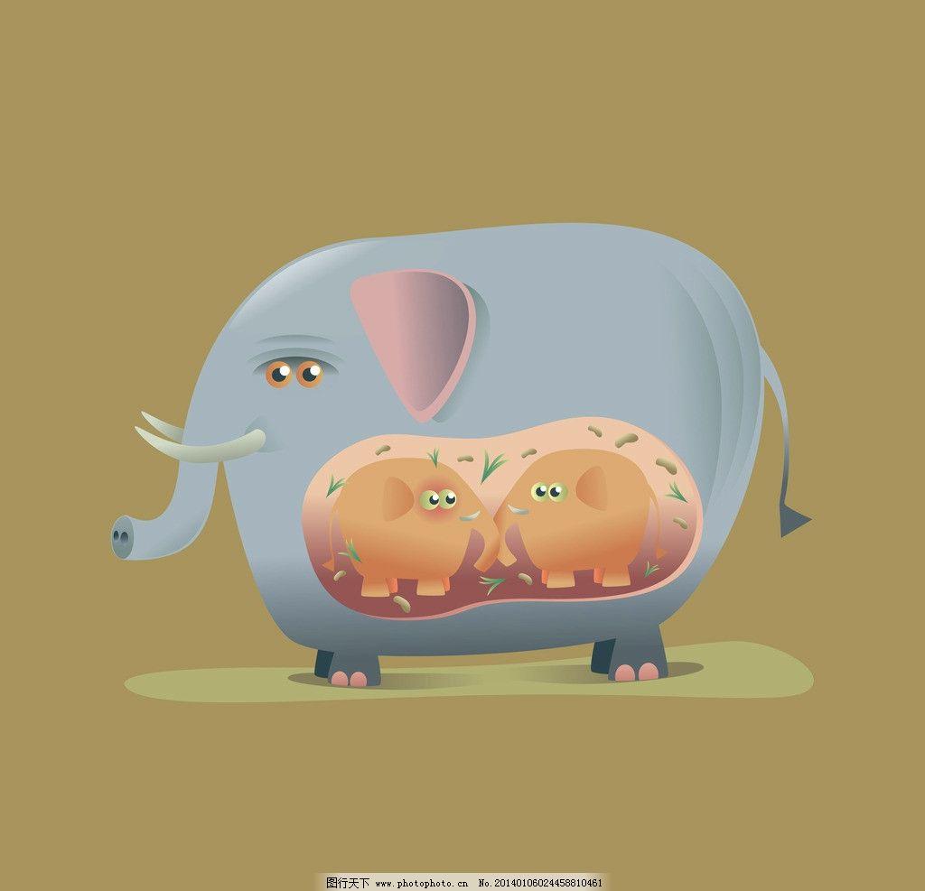 大象 卡通设计 可爱 卡片 动漫设计 卡通形象 手绘动物 矢量素材 矢量