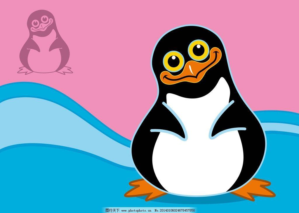 企鹅 可爱 小鸟 鸟类 手绘 鸟类主题 卡通动物 生物世界 矢量 eps