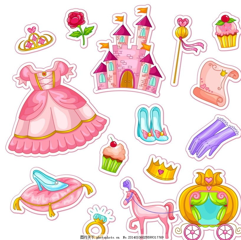 儿童玩具 玩具 儿童 幼儿 卡通 可爱 城堡 古堡 马车 蛋糕 裙子 卷轴