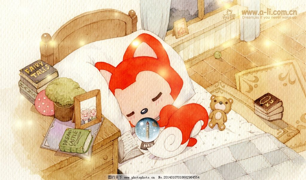 阿狸 睡觉 书柜 床铺 做梦 动漫动画 设计 72dpi jpg