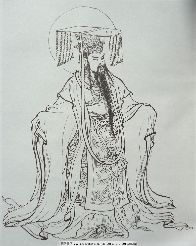东岳大帝 神话人物 工笔画 绘画 美术 白描 线描 李云中 传统人物画