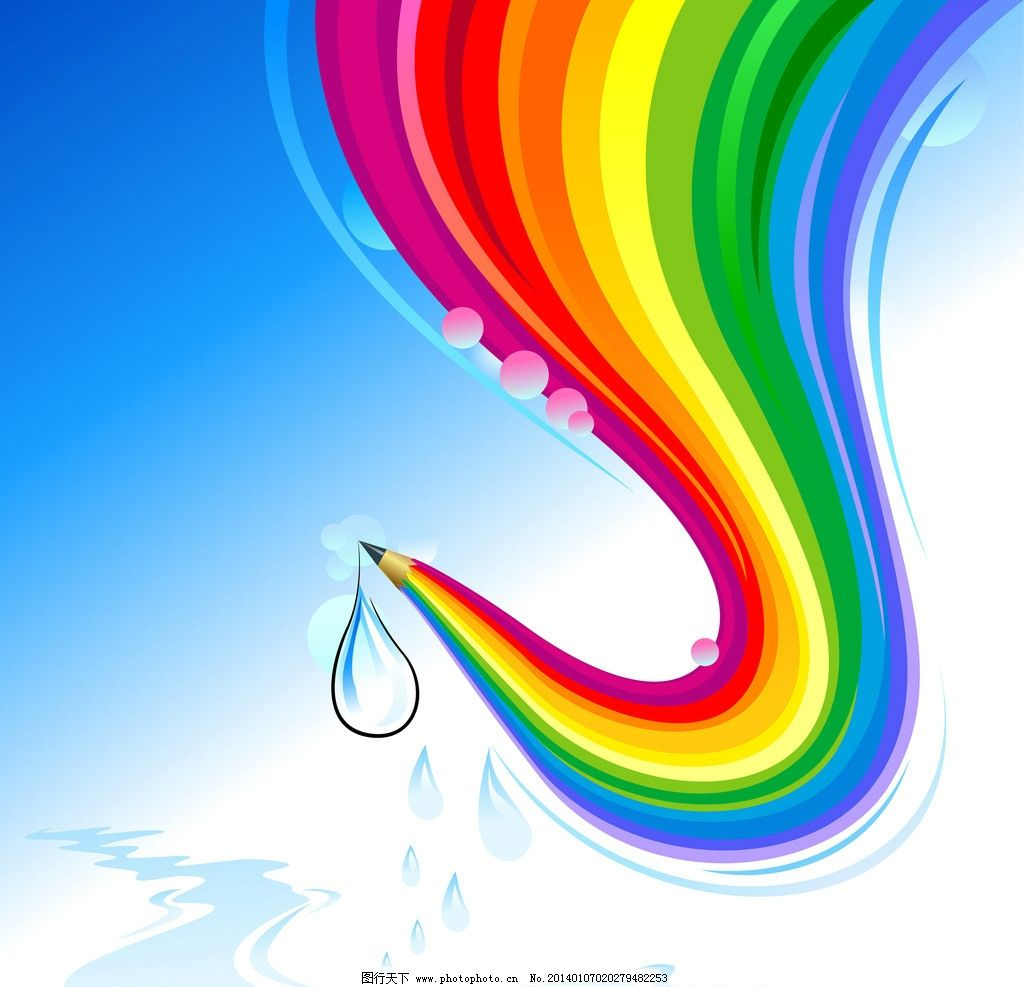 背景底纹  彩虹 天空 矢量 手绘 彩色铅笔 水滴 蓝色水滴 动感 线条