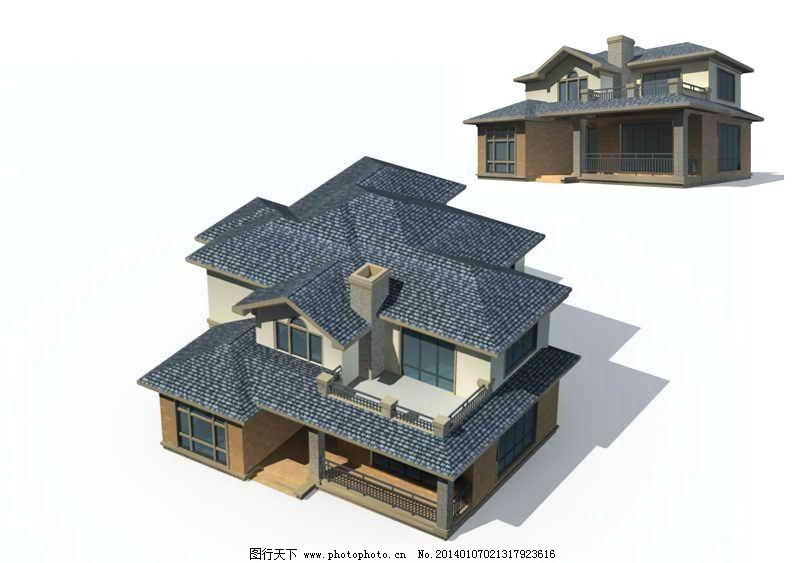 别墅 欧式 现代 室外效果图 室外建筑 独栋别墅 室外模型 3d设计模型