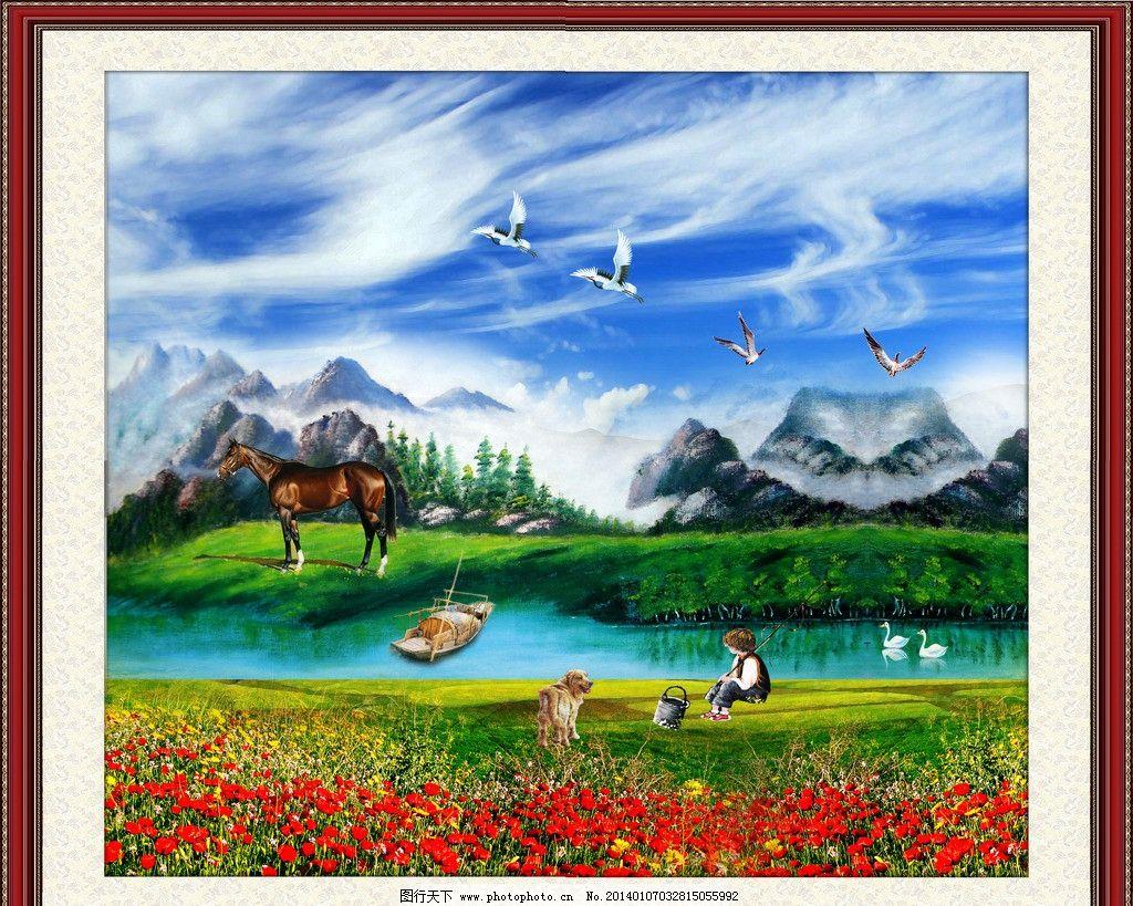 油画风景 风景油画 风景 油画 欧式风景油画 田园风景油画 世外桃园