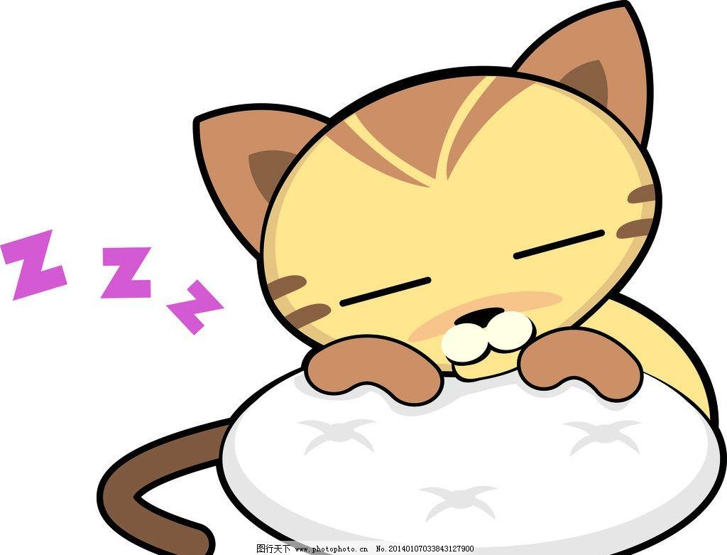 睡觉的猫咪 懒洋洋 小猫 黄色 动物 矢量素材 其他矢量
