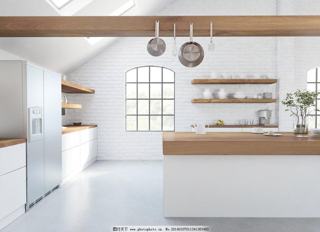 设计图库 环境设计 家居设计  300dpi jpg 吧台 别墅 冰箱 餐具 餐厅