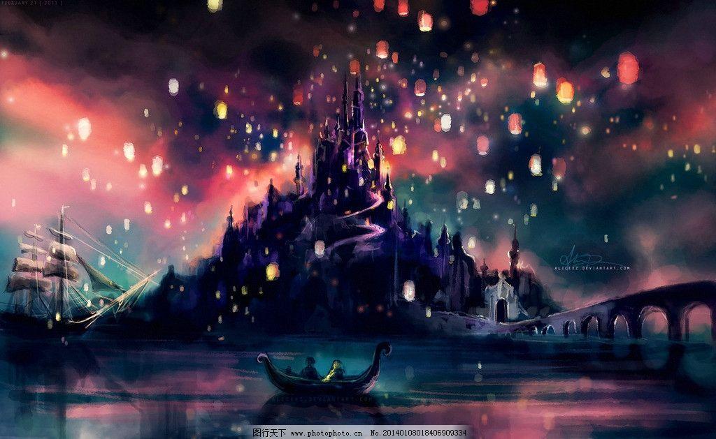 迪斯尼城堡水彩画图片