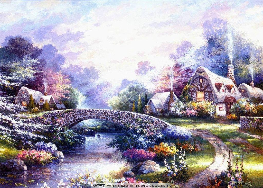 油画风景 绘画 艺术 油画 唯美 写实油画 欧式风景 石桥 当代油画