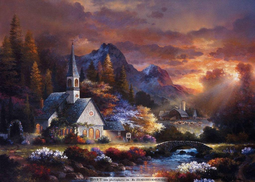 油画风景 绘画 艺术 油画 唯美 写实油画 欧式风景 夕阳 当代油画
