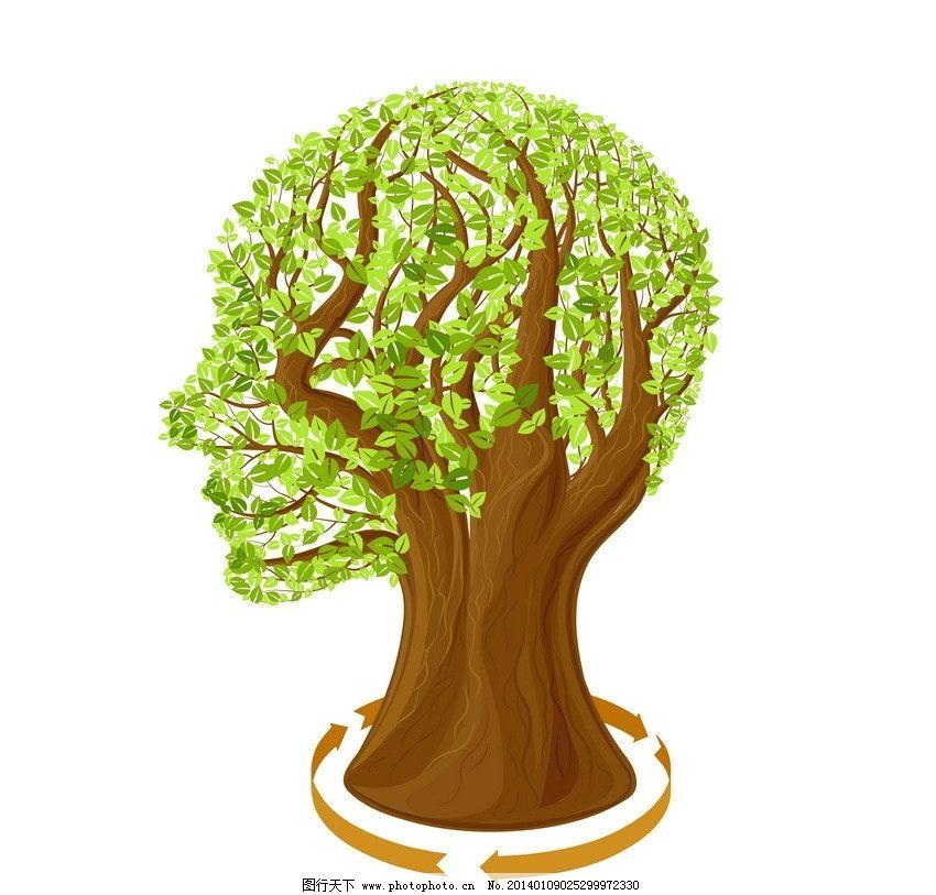 人头 树木 绿树 花纹树 树花纹 手绘树 线条树 卡通树 可爱 手绘 植物