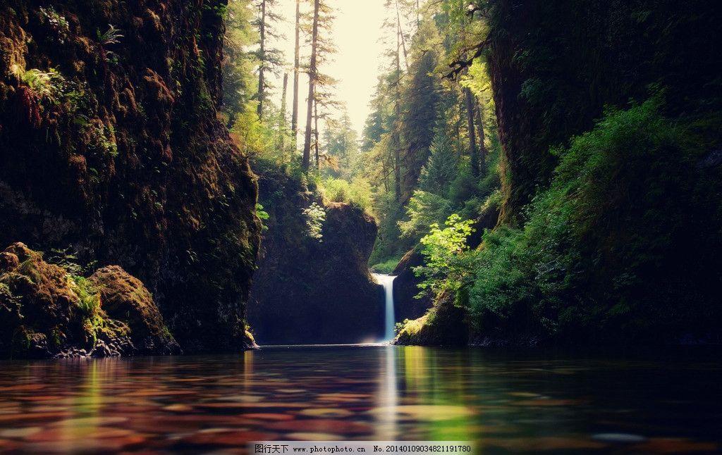 山涧水潭 高清壁纸 风景壁纸 图片素材 小溪 瀑布 树林 外国风景
