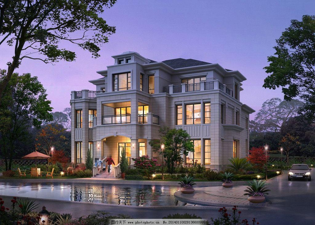 别墅夜景效果图设计图片