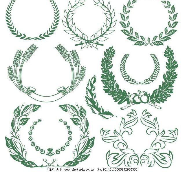 欧式经典绿色树叶花纹矢量素材