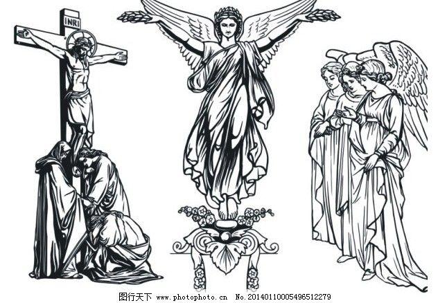 耶稣圣女西方神话人物素描矢量素材免费下载 翅膀 神话 十字架 矢量