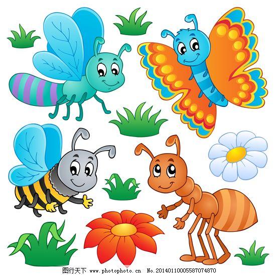 动物矢量图免费下载 草 虫子 动物 蝴蝶 花朵 蜻蜓 矢量图 动物 蝴蝶